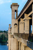 Road and rail split-level bridge over the river Royalty Free Stock Images