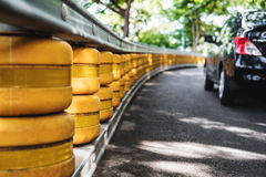 Road railing barrier, selective focus shallow depth of field, accident safety system on the road Stock Photos