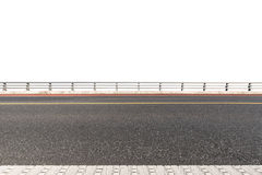 Road with railings isolated on white. Road and railings isolated on white with clipping path Royalty Free Stock Image