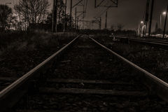 Railway by night Stock Images
