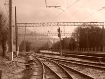 Road. Railroad tracks at the train station stock image
