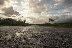 Road after rain. Country road after rain. Sun in clouds Royalty Free Stock Photo