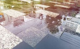Road after rain. Slippery roads after rain can cause accidents, wet, transportation, travel, car, drive, water, nature, danger, rainy, dangerous, vehicle, street stock images