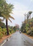 Road after rain in suburb of Mumbai Stock Photo