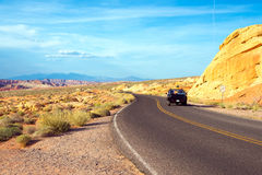 Road through Rainbow vista in Valley of Fire State Park Stock Images