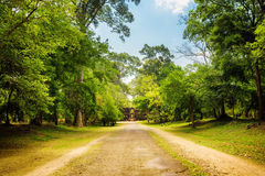 Road through rainforest in ancient Angkor Wat in Cambodia Stock Photo