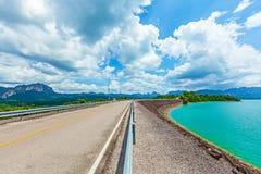 Road on Ratchaprapa Dam Chaew Lan Dam Surat Thani Thailand.  Stock Photography