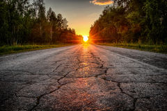 The road receding into the distance. The road through the woods, disappearing into the distance on the background of sunset stock image