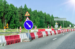 Road reconstruction in forest Royalty Free Stock Photo