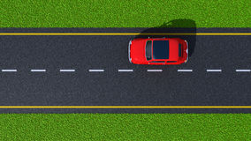 Road with red car (top view) Royalty Free Stock Image