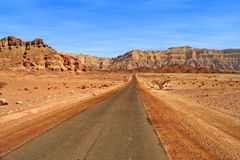 Road through red mountains in Israel. Stock Images