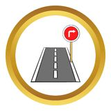 Road and red road sign pointing right vector icon. In golden circle, cartoon style isolated on white background Royalty Free Stock Images