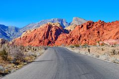 Road in the Red Rock Canyon Royalty Free Stock Images