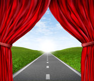 Road with red velvet curtain and drapes Stock Images