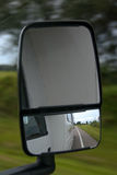 Road reflection on RV mirror Stock Image