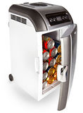 Road refrigerator with cans inside on a white background Royalty Free Stock Image