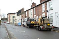 Road repair. The road repair construction work in the city Royalty Free Stock Photos