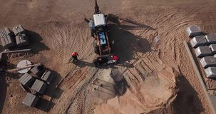 Road repair aerial photography with drone. top view stock video