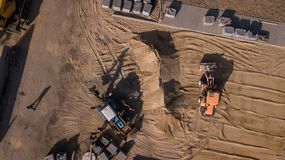 Road repair aerial photography with drone. top view stock images