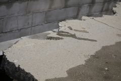 Road repair concrete work a lot and. royalty free stock images