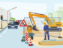 Road work illustration Royalty Free Stock Photo