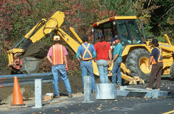 Road repair construction workers Royalty Free Stock Photo