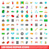 100 road repair icons set, cartoon style. 100 road repair icons set in cartoon style for any design illustration Royalty Free Stock Image