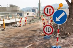 Road Repair In The Czech Republic. Traffic Signs. Roadwork. Traffic Marking Of Detours. Royalty Free Stock Photo