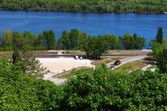 Road repair. Near the Dnieper River is road repair Royalty Free Stock Images