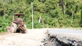 Road repair at Samlan waterfall, Saraburi province, Thailand
