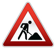 Road repair sign. With silhouettes of construction worker Stock Image