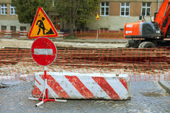Road repair signs. And equipment in the city street Stock Photography