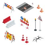 Road repair, under construction road signs. Flat 3d vector isometric illustration. Road repair, under construction road signs. Flat 3d vector isometric Royalty Free Stock Photos