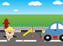Road repair, vector cartoon animal. Road repair vector cartoon animal Stock Photos