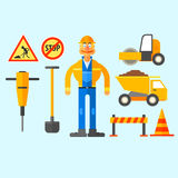 Road Repair Work. Vector Illustration Stock Images