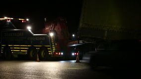 Road repairing a truck at night stock footage