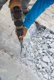 Road repairing. Works with jackhammer Stock Photography