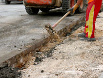 Road repairing works Stock Photography