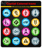 Road repairs icon set. Road repairs crystal color icons for your design Stock Photos