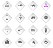 Road repairs icon set. Road repairs flat web icons for user interface design Stock Images