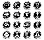 Road repairs icon set. Road repairs icons on stylish round chromed buttons Stock Image