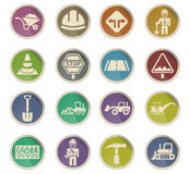 Road repairs icon set. Road repairs web icons on color paper labels Stock Photos