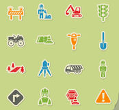 Road repairs icon set. Road repairs web icons on color paper stickers for user interface Stock Images