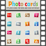 Road repairs icon set. Road repairs web icons on color photo cards for user interface Stock Image