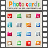 Road repairs icon set. Road repairs web icons on color photo cards for user interface Stock Photo