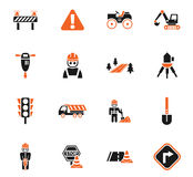 Road repairs icon set Royalty Free Stock Photography