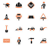 Road repairs icon set. Road repairs web icons for user interface design Stock Photo
