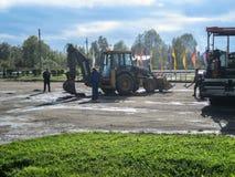 Road repairs in the Kaluga region in Russia. Stock Photo