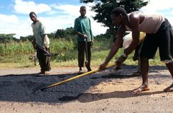 Road repairs in Malawi. Stock Image