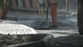 Road repairs stock video